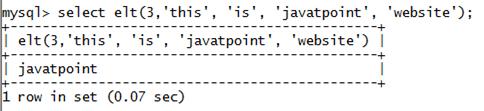 MySQL String ELT() Function
