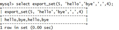 MySQL String EXPORT_SET() Function