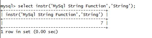 MySQL String INSTR() Function