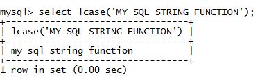 MySQL String LCASE() Function