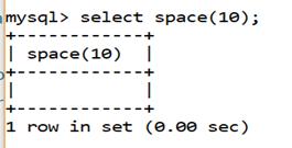 MySQL String SPACE() Function