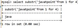 MySQL String SUBSTR() Function