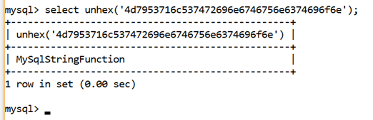 MySQL String UNHEX() Function - javatpoint