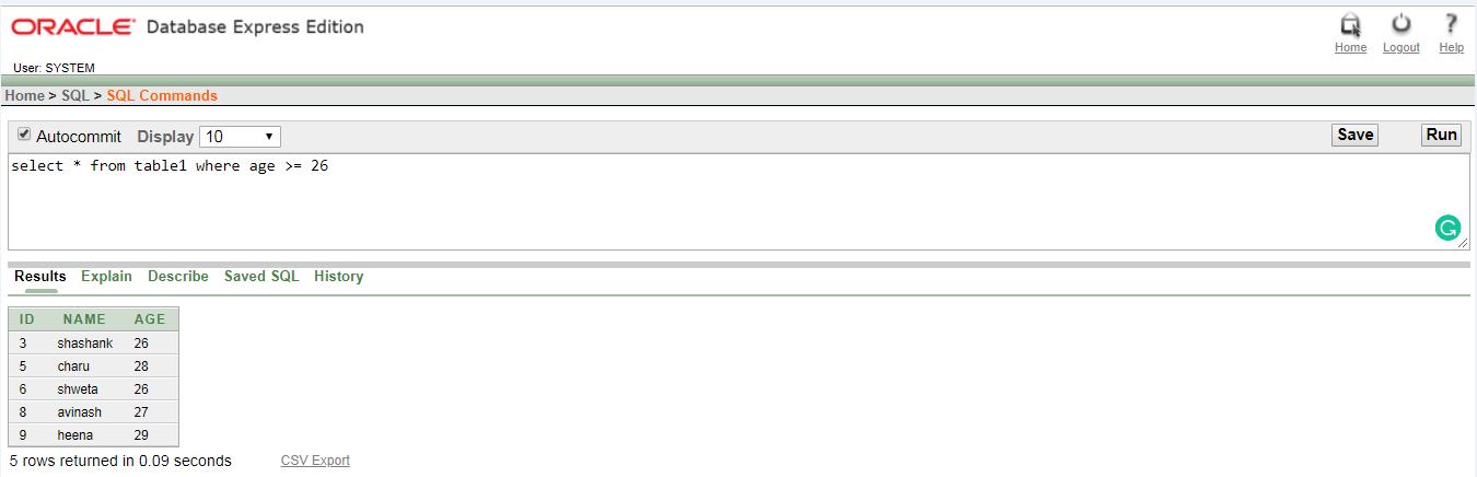 Oracle Comparison operators