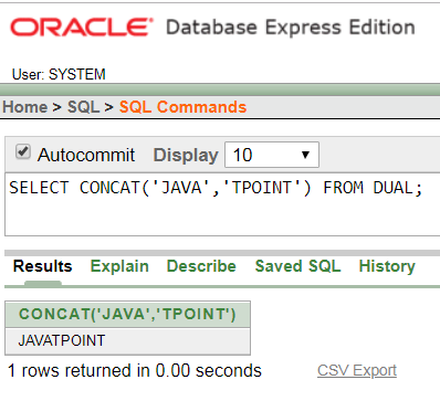 Oracle String CONCAT Function - javatpoint