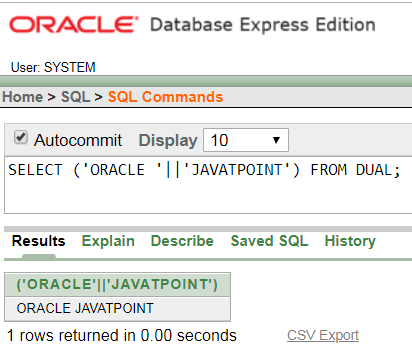 Oracle String CONCAT WITH || Function - javatpoint