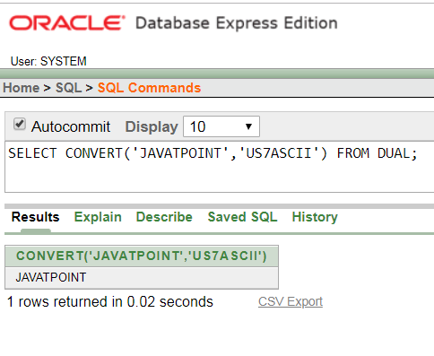 Oracle String CONVERT Function - javatpoint