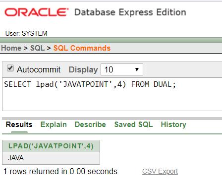 Oracle String LPAD() Function - javatpoint
