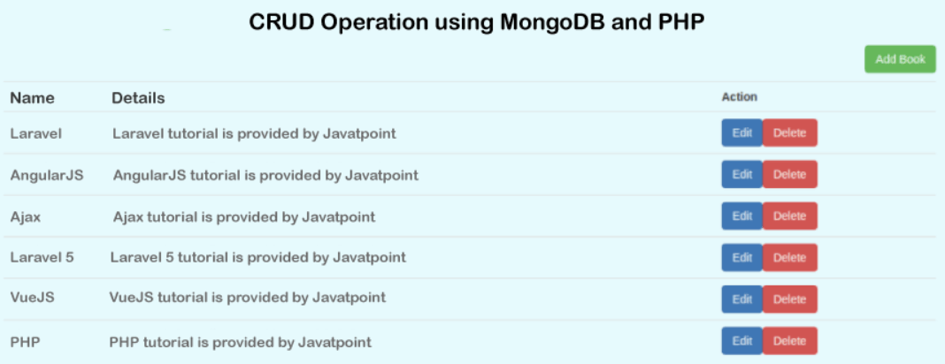 CRUD Operation using PHP and Mongodb