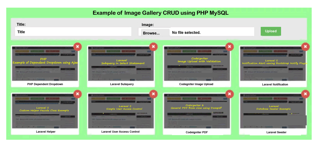 Image Gallery CRUD using PHP MySQL