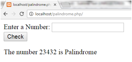 PHP Palindrome number 2