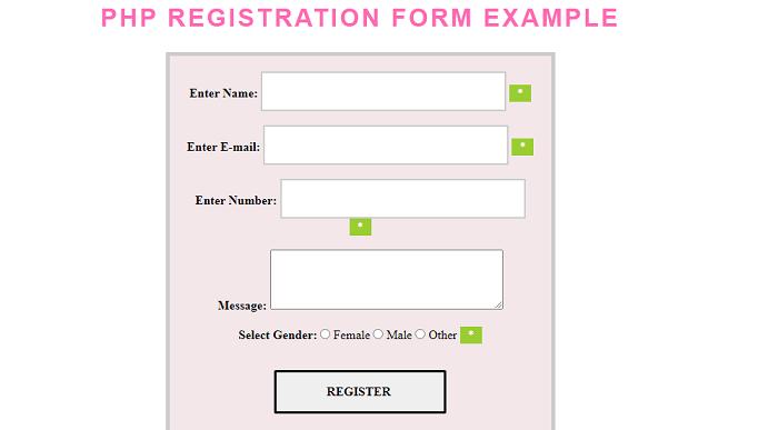 PHP Registration Form