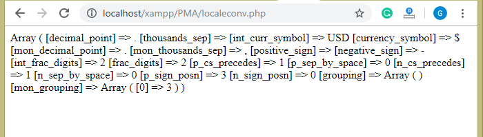 PHP String localeconv() Function