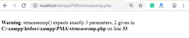 PHP String strncasecmp() function