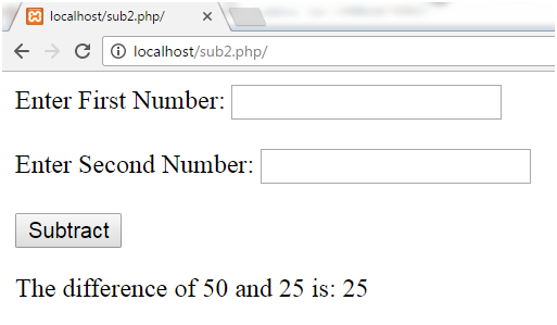 PHP Subtracting two numbers 2
