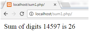 PHP Sum of digits 1