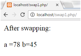 PHP Swapping two numbers 1