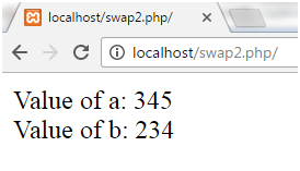 PHP Swapping two numbers 2