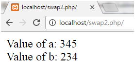 PHP Swapping two numbers 3