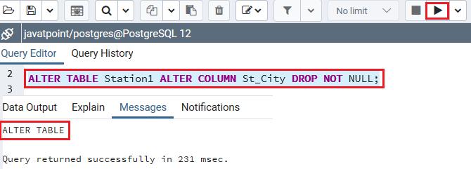 Alter not postgres null column Alter Column