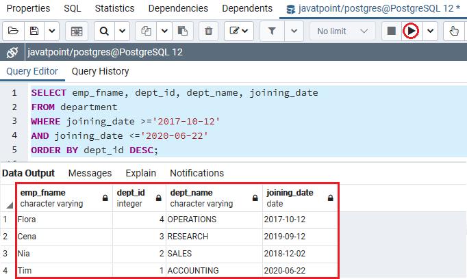 PostgreSQL Between Condition