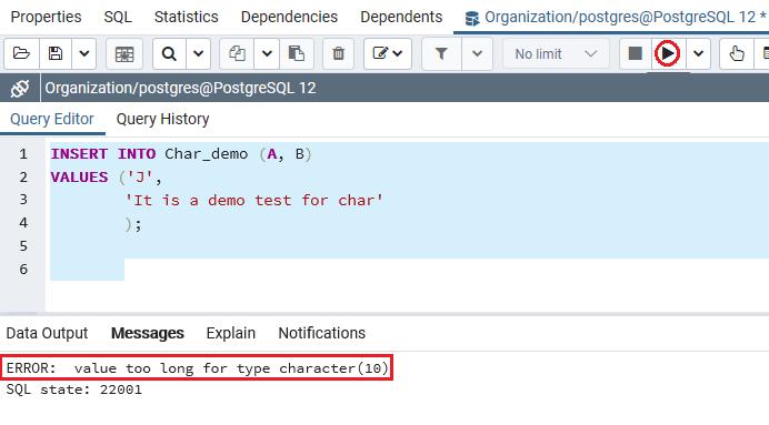 PostgreSQL Character