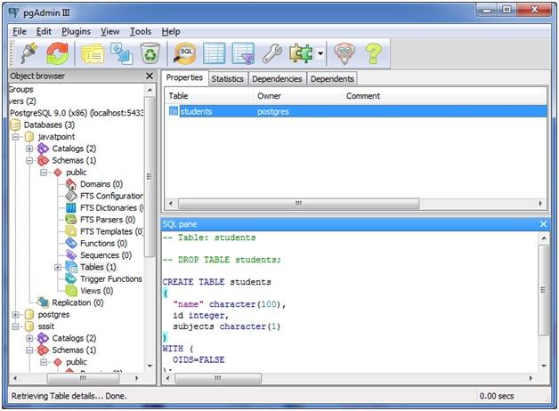 PostgreSQL Create Table - javatpoint