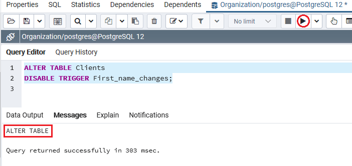 PostgreSQL DISABLE Trigger