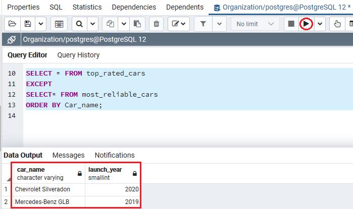 PostgreSQL EXCEPT