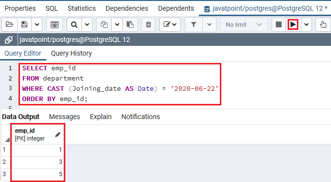 PostgreSQL IN Condition