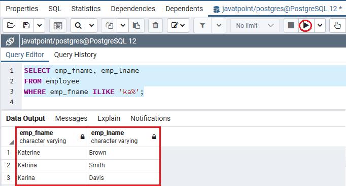 PostgreSQL Like