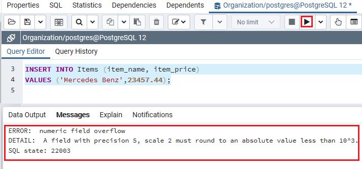 PostgreSQL Numeric