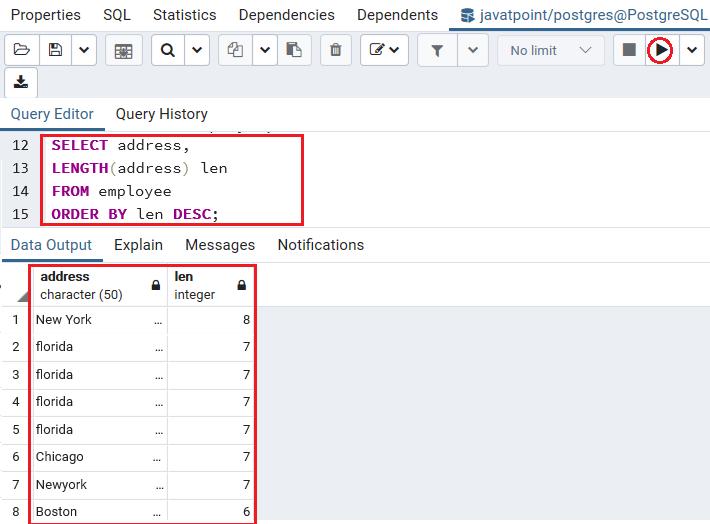 PostgreSQL Order by clause
