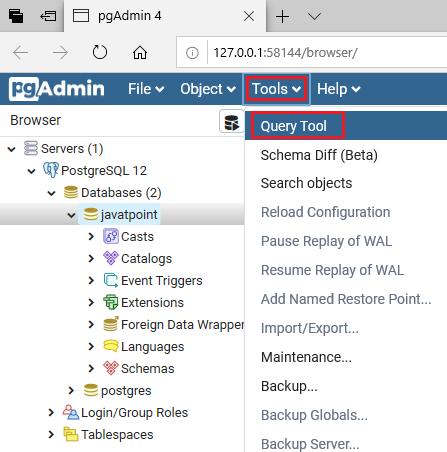 PostgreSQL Select Database