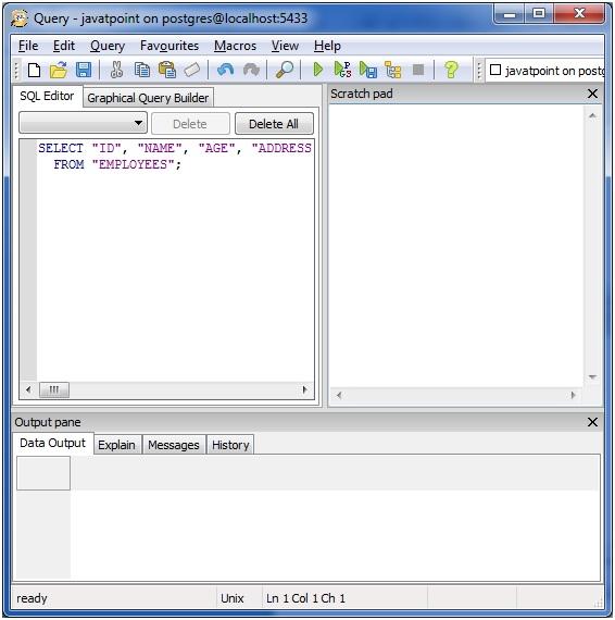 PostgreSQL Select - javatpoint