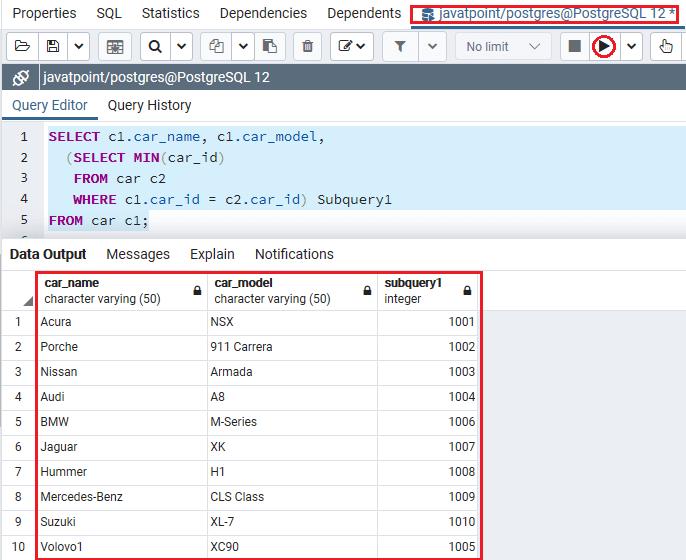 PostgreSQL Subquery