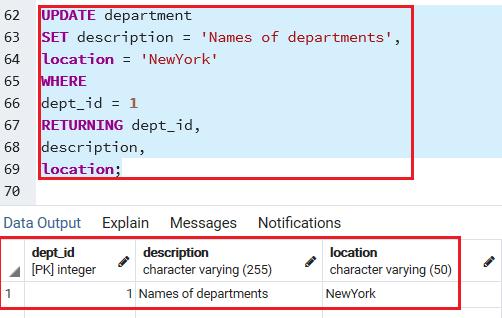 PostgreSQL Update