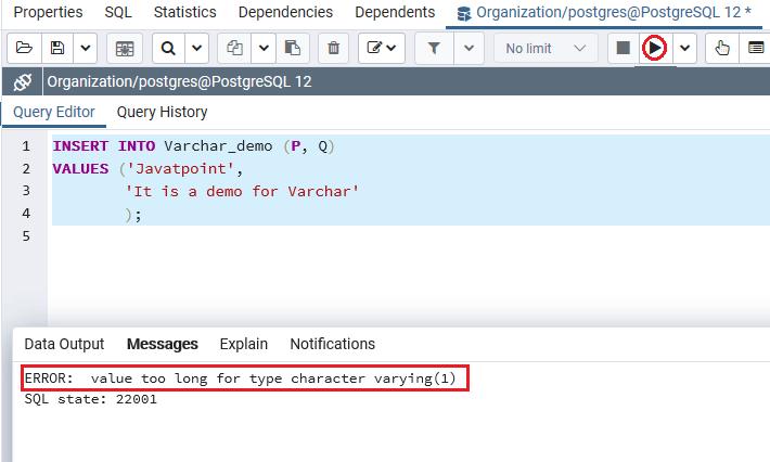 PostgreSQL Varchar