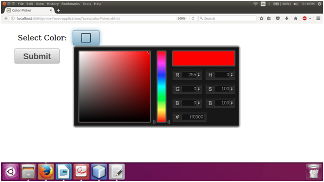 PrimeFaces ColorPicker 2