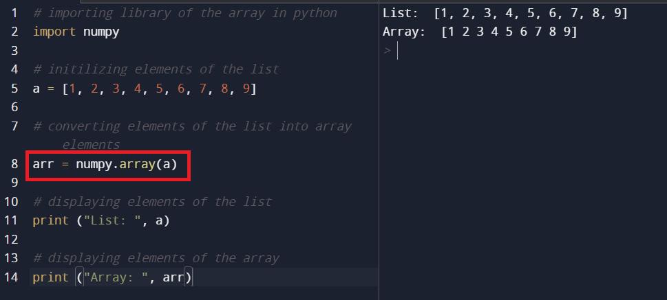 Convert Python List to NumPy Arrays