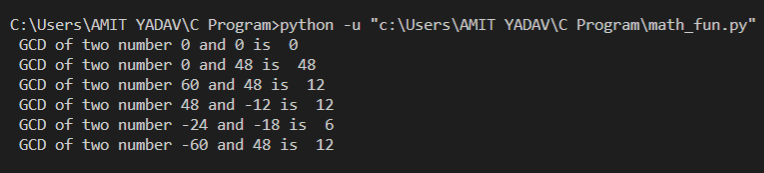 GCD of two number in python