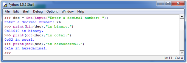Python Convert Decimal Binary Octal and Hexadecimal - javatpoint