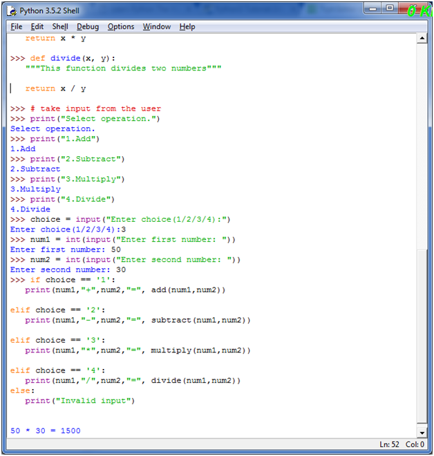 Python make simple Calculator - javatpoint