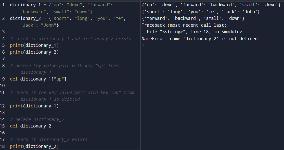 Python del Statement