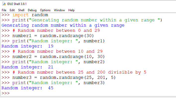 Python random randrange()