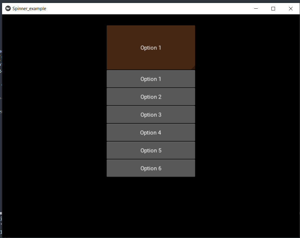 Spinner Widget in the kivy Library of Python