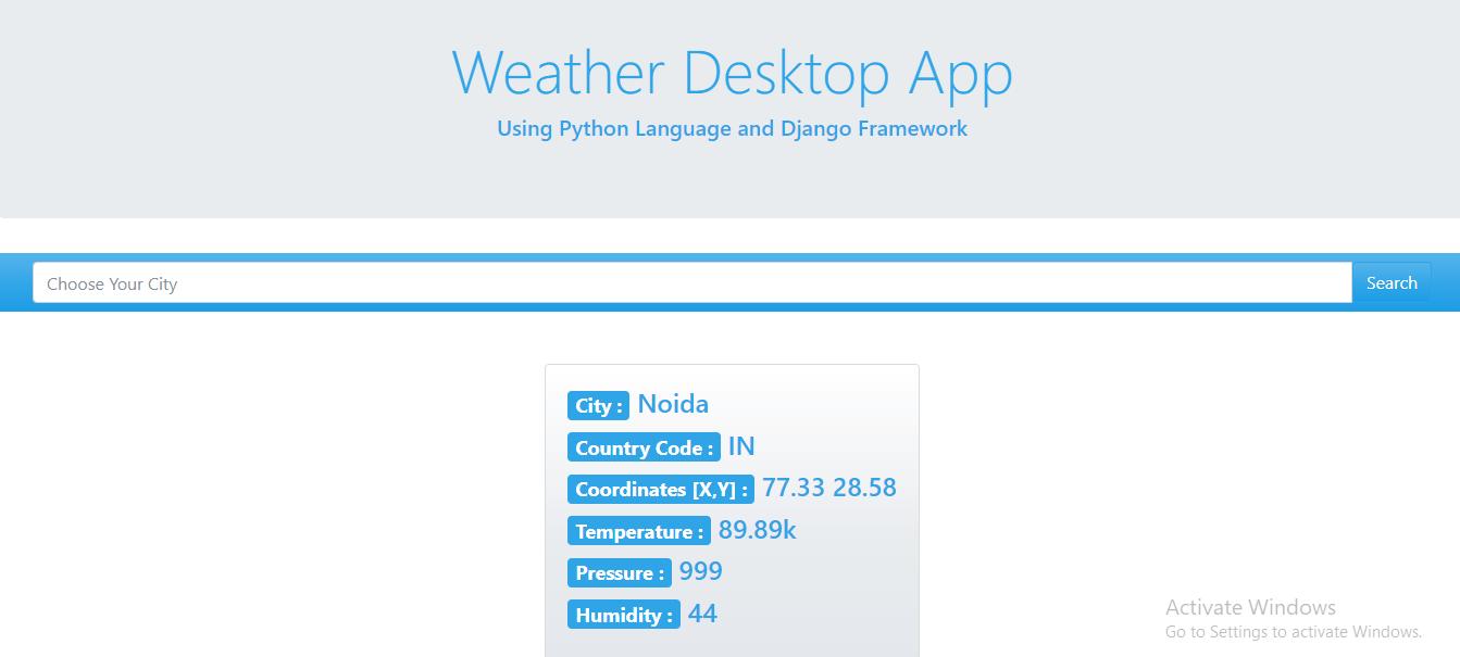 Weather App in Django