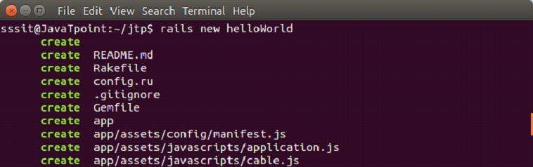 Ruby On rails 5 hello world example 1
