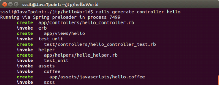 Ruby On rails 5 hello world example 2