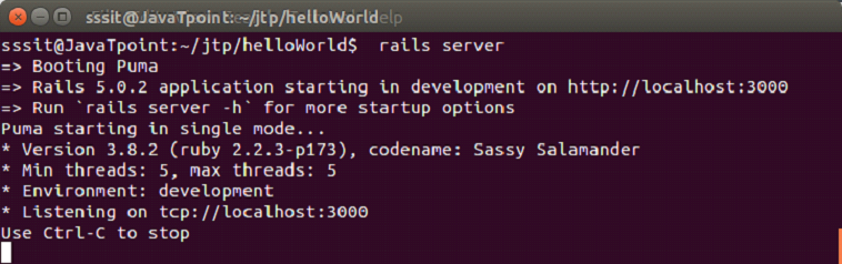 Ruby On rails 5 hello world example 3